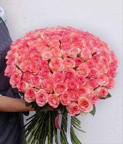 Шикарная роза Джумилия. Букет 101 роза, розовые цветы, доставка цветов