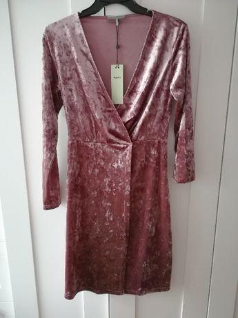 Sukienka vintage lila róż welurowa wrzosowa nowa z metką S M