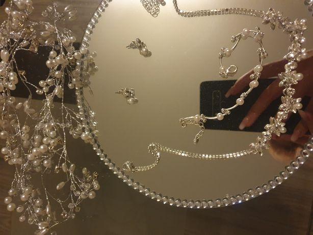 Zestaw ozdoby ślub włosy kolczyki naszyjnik bransoletka diadem wianek