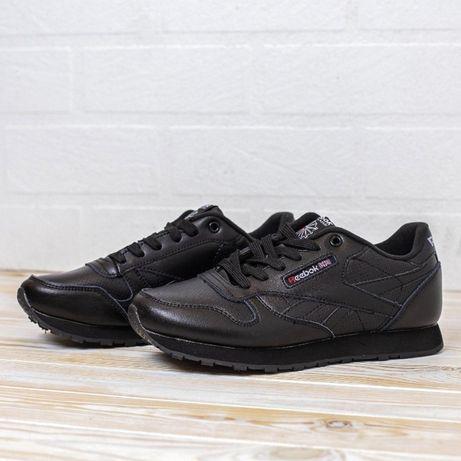 4089 Reebok Classic черные кожа кроссовки женские рибок кросовки др