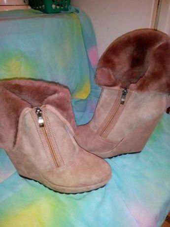 Ботинки- сапоги зимние, замшевые