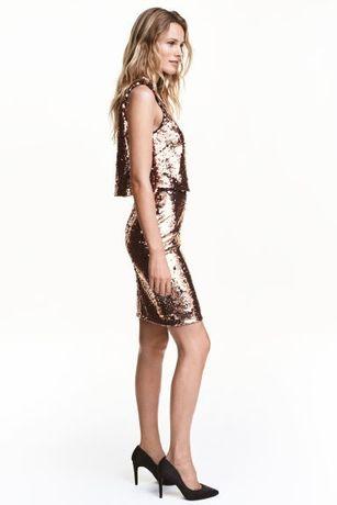 Sukienka H&M cekiny złota - nowa
