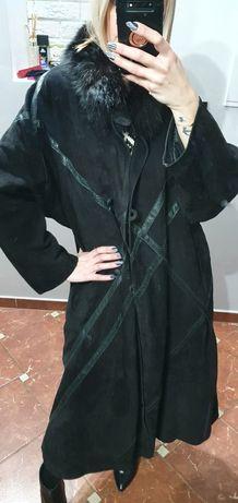 Bardzo długi Vintage skórzany płaszcz oversize z kożuszkiem