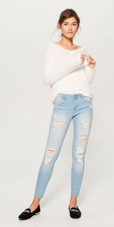 Mohito jeansy slim z przetarciami dzinsy z dziurami
