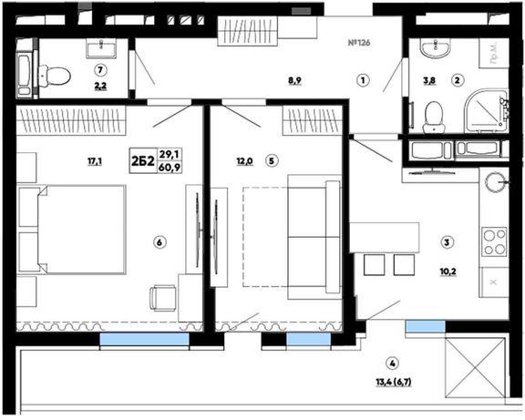 Продам комфортную 2к квартиру з шикарной террасой в Paradise Avenue