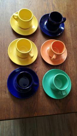 Stary komplet kawowy/espresso w różnych kolorach 13szt