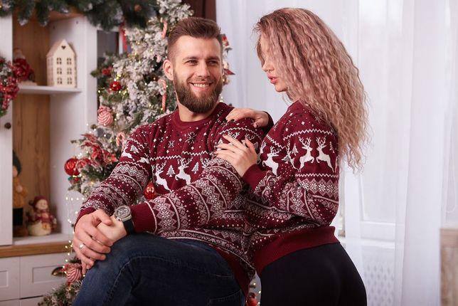 Новогодний свитер с оленями подарок новогодние парные свитера