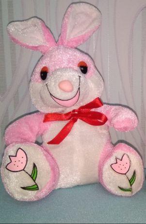 мягкая игрушка розовый зайка