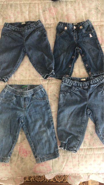 Lote 4 calças ganga menina 6 - 9 meses benetton