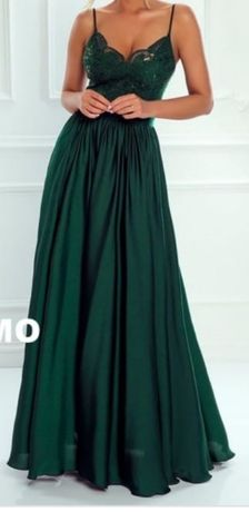 Sukienka MAXI butelkowa zieleń EMO