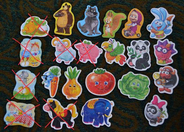 Пазлы мягкие большие Vladi Toys (15 шт) Овощи,Маша,Смешарики...