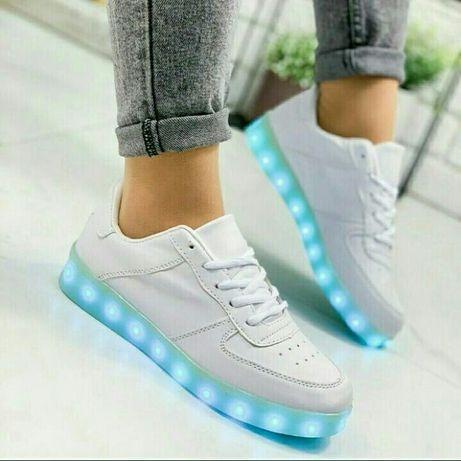 Белые кеды Светящиеся led кроссовки с подсветкой р. 35-40