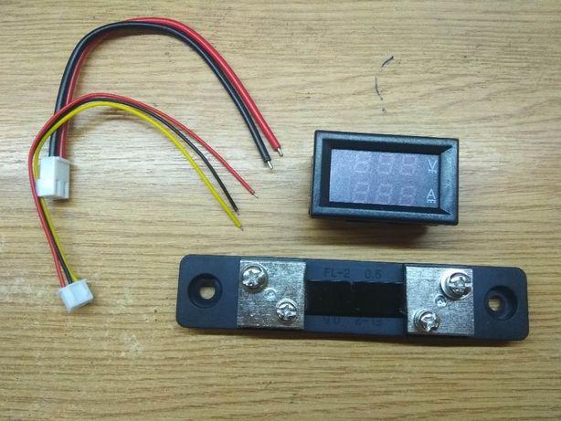 Вольтметр-амперметр DC 0-100В червоний 0-50А синій з шунтом