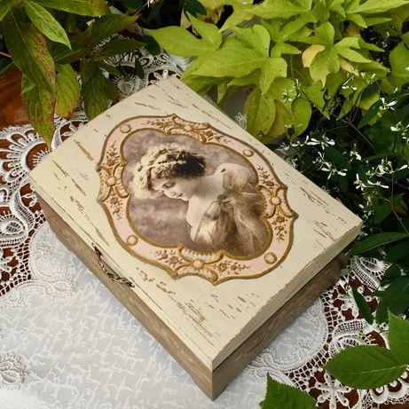 Pudełko skrzyneczka decupage retro vintage szkatułka prezent dla niej