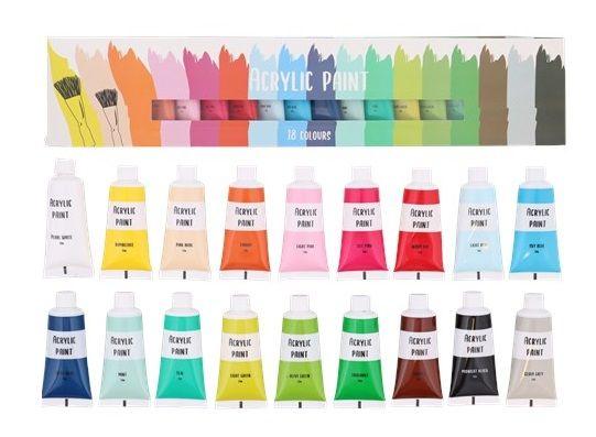 Farby akrylowe zestaw 18 sztuk x 21ml ZESTAW FARB Akrylowych
