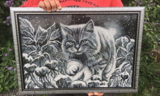 Картина бисером кот на снегу