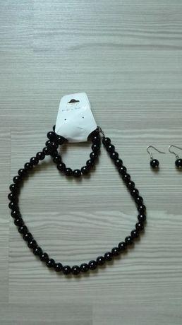 ZESTAW biżuterii czarne kuleczki kolia + bransoletka + kolczyki