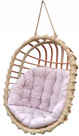 Huśtawka wiklinowa, fotel wiszący OWALNY  + poduszka beżowa