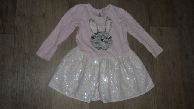 Платье с пайетками сетка пудровая с зайчиком нарядное пачка TU красиво