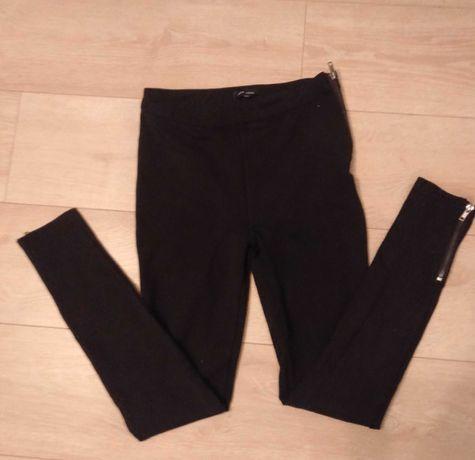 Spodnie czarne New Look z zameczkami getry legginsy wysoki stan