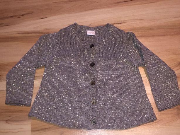 Sweter Sweterek rozpinany rozmiar 80 , 86 Śliczny ze złotą nitką