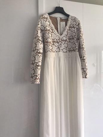 Suknia ślubna balowa poprawiny nude cream naked madonna ala milla nova