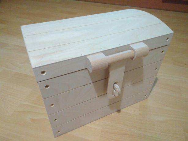 Kufer drewniany kuferek skrzynia na zabawki