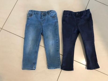 Spodnie dziecięce x2: rozm. 92: jeans + spodnie granatowe
