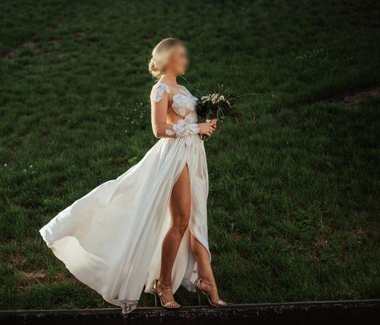 Suknia ślubna naturalny jedwab