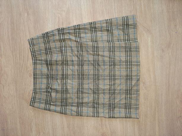 Spódnica brązowa w kratę midi 90% wełna 10% kaszmir niemiecka