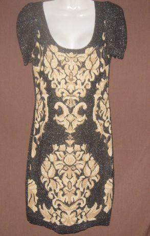 Платье чёрное с рюлексом, летнее, мини. Шикарное.