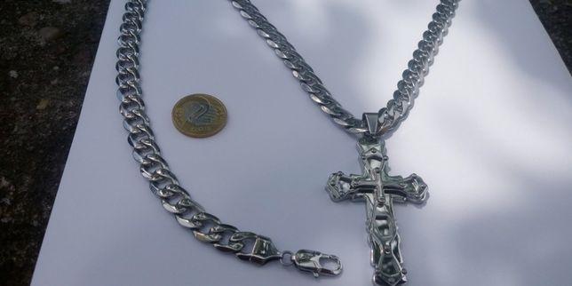 Łańcuszek męski,splot pancerka,316l,damski łańcuszek,krzyżyk,yes,kruk