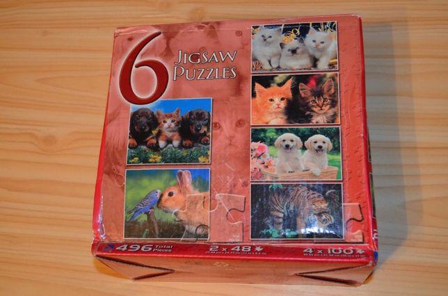 Пазлы с животными, 6 шт в коробке на 48 и 100 частей