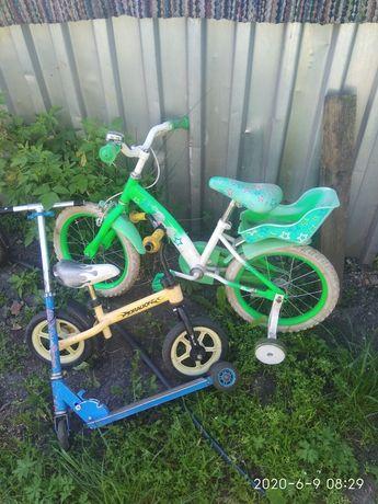 Дитячий велосипед +самокат в подарунок