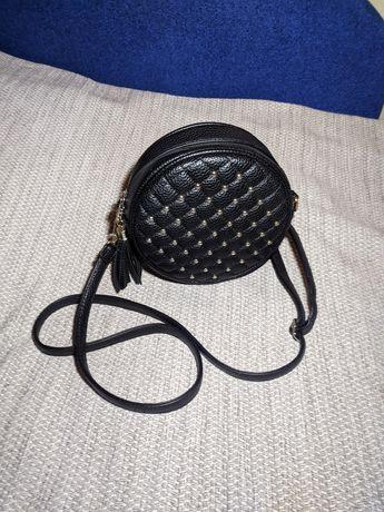 Женская сумочка клатч с длинным ремешком круглая