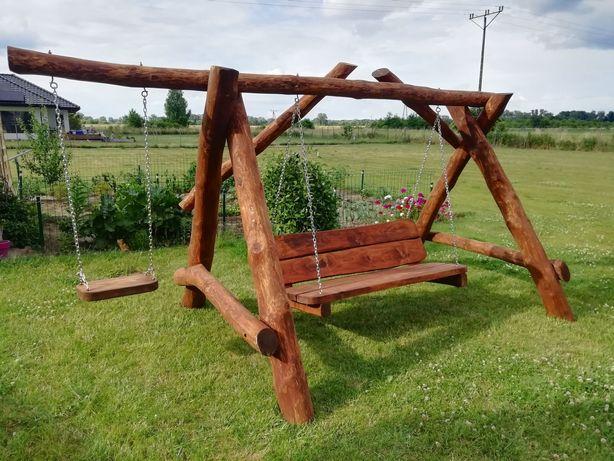 Huśtawka/huśtawki drewniane ogrodowe, bujaczka - masywna nowe