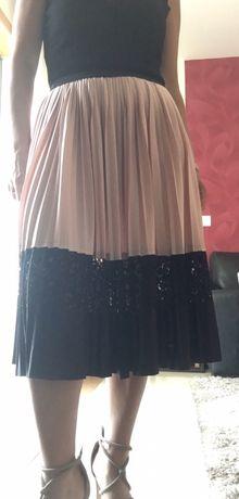 Saia plissada Zara rosa e preta S