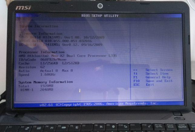 Нетбук MSI u210x полу рабочий