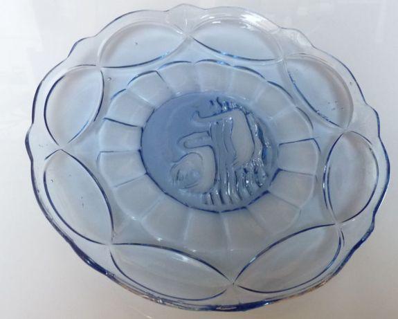 Patera na ciasto półmisek kryształowy kryształ PRL niebieski