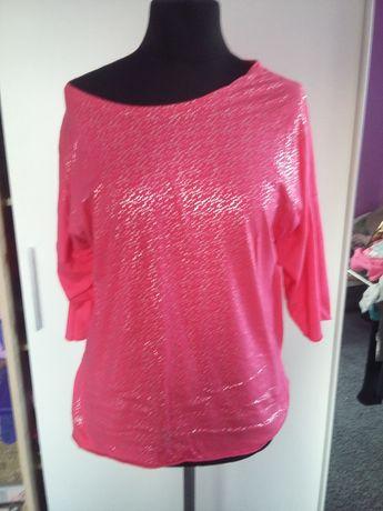 Jak nowa bluzka tunika różowa neon srebrny nadruk oversize