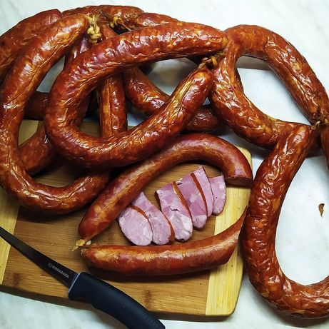 Ковбаса м'ясна копчена на дровах мясо бстурма сало
