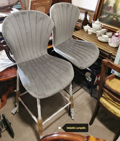 Hokery hoker krzesło barowe tapicerowane siwe szare metalowe nogi