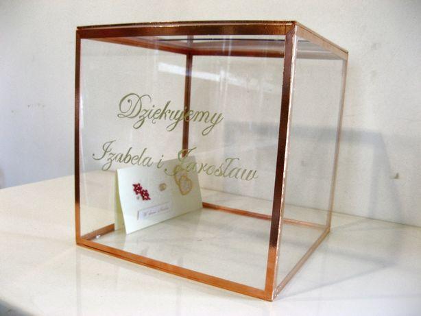 Pudełko na kartki ślubne koperty szklane przezroczyste miedziane