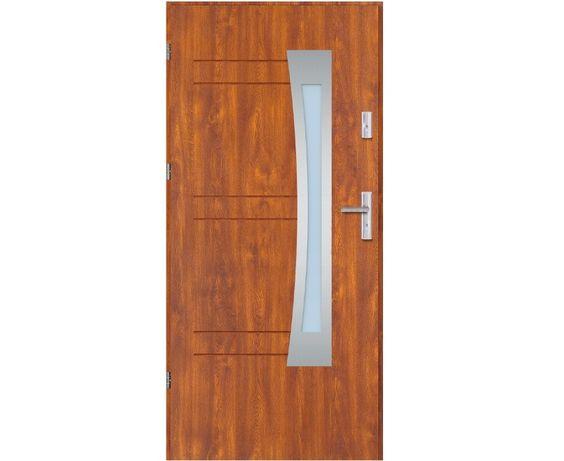 Drzwi zewnętrzne Aurelia ,,90'' złoty dąb/orzech przeszklone, od ręki