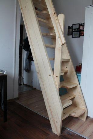 SCHODY KACZE na wysokość 280cm szer.80cm Drewniane Młynarskie z PORĘCZ