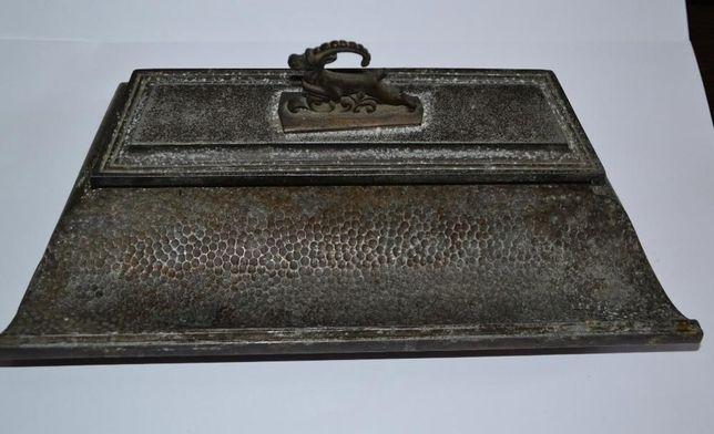 старинная чернильница алюминий бронза винтаж хорошее состояние