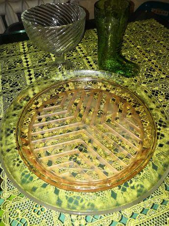 Szkło Ząbkowice wazon talerz świąteczny