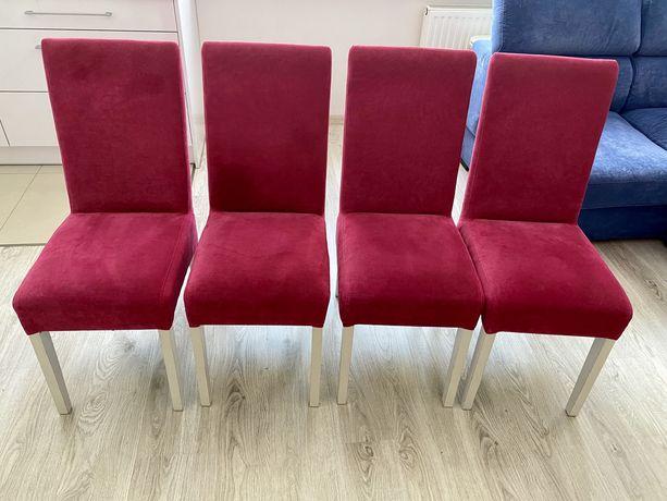 4 krzesła , komplet krzeseł - drewnine nogi, tapicerka różowa/magenta