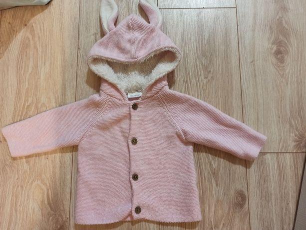 Next, sweterek z uszkami na kapturze, rozmiar 68