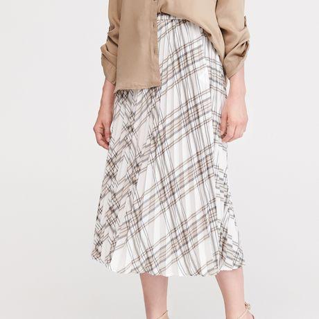 Spódnica Reserved, krata, biała, czarna, brązowa, 36/S, plisowana